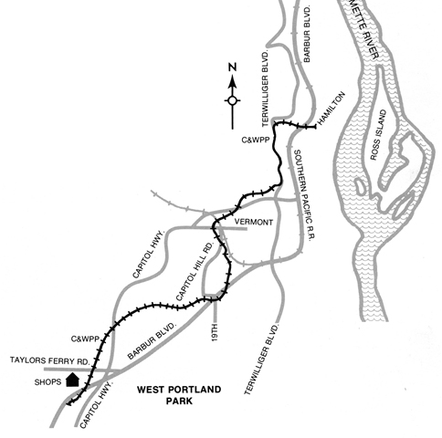 City and West Portland Park Railway Map