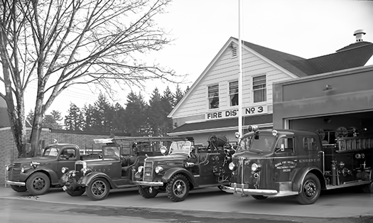 Multnomah Fire Department Station and Trucks, ca. 1950.