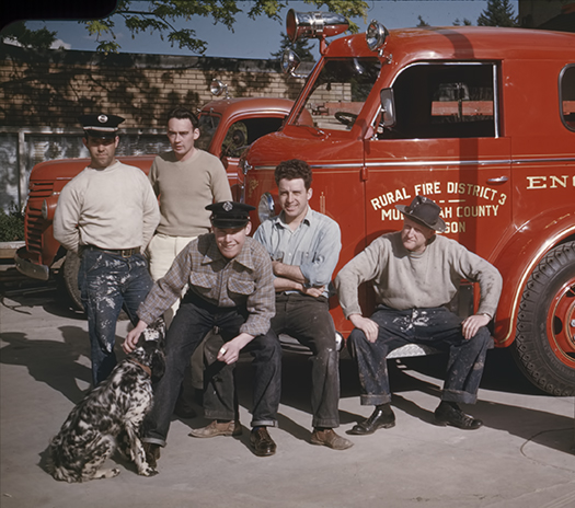 Multnomah Fire Department paint crew, ca. 1940. L to R - Lorry Marshal, Dick Layman, ?, Virg Spencer, Harry Lawrence.