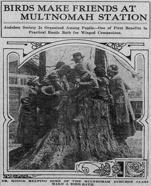 Oregonian Article, May 6, 1915: Multnomah Station Audubon Society Making a Bird Bath.