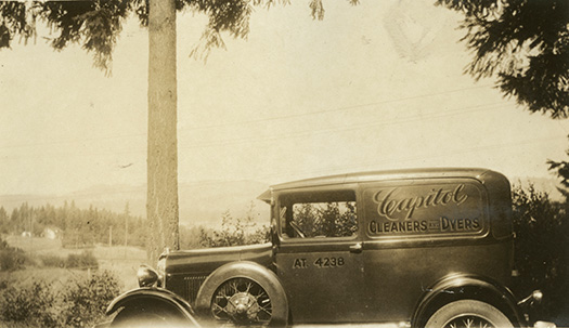 Capitol Cleaners and Dyers 1929 Ford Delivery Van at 4208 SW Hume St., ca. 1930.