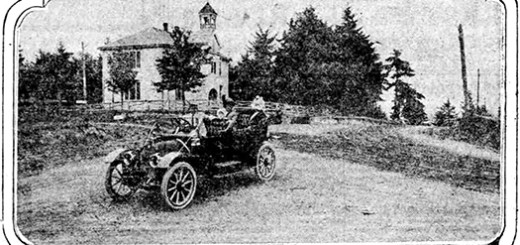 "C. J. Hubbard of Keats Auto Co. in His Chalmers ""30"" on the New Taylor's Ferry Road."