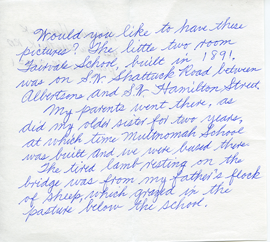Note from Arlene Hancock, donor of the Fairvale School photos.