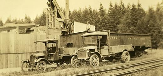 Hawley Lumber Company trucks, ca. 1913.