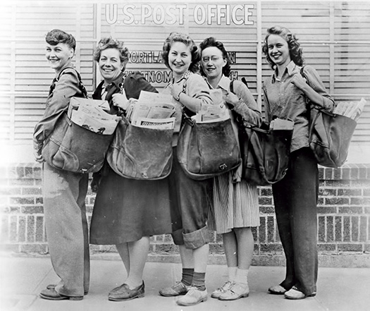Multnomah Mailwomen, 1944. From left to right: Lillian Sears, Iva Woodward, Patricia Long, Emma Wargi, and Virginia Schaaf.