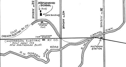 Map of the Oregon Electric route (now Multnomah Blvd.) through Multnomah and Maplewood.