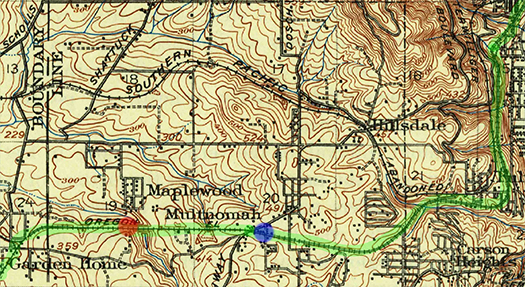 1913 USGS Map. Route of Oregon Electric, Multnomah Station, and Maplewood Station highlighted.
