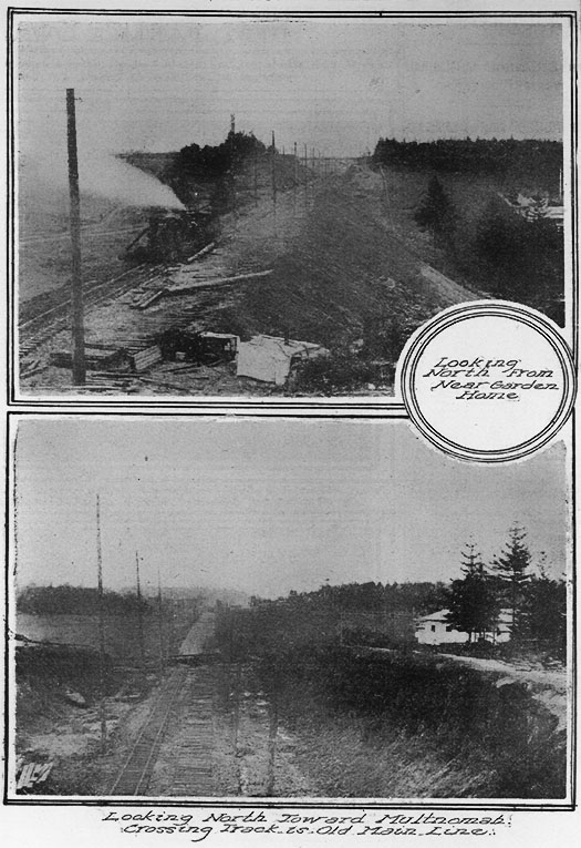 "JANUARY 4, 1914 - TRACK LAYING ON OREGON ELECTRIC CUT OFF IS HAMPERED BY ""SOFT"" WEATHER"