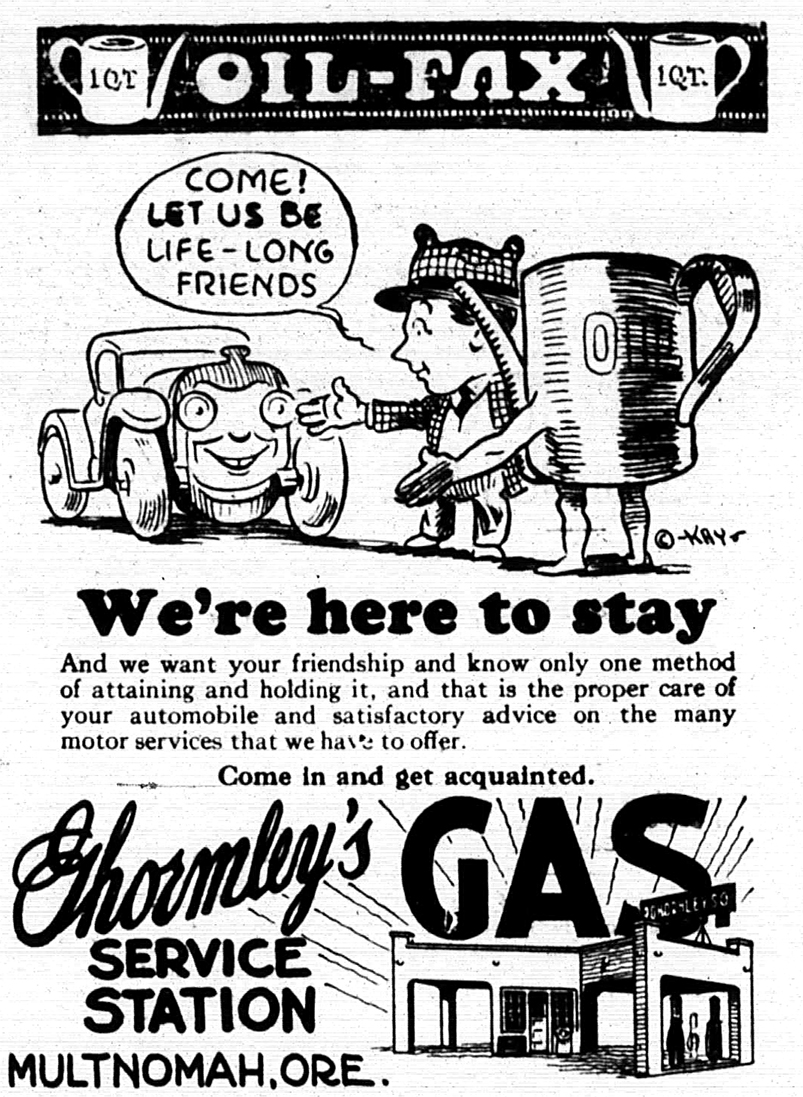Ghormleys Service Station advertisement from The Multnomah Press, March 23, 1928.