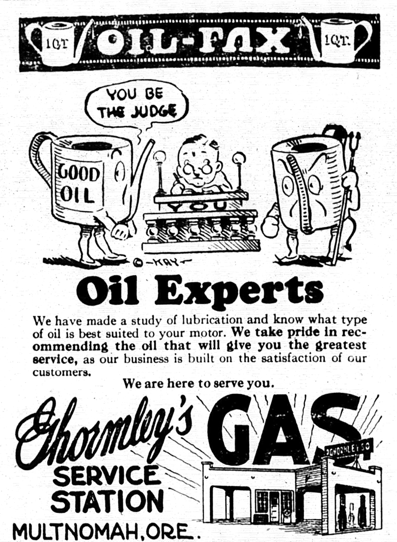 Ghormleys Service Station advertisement from The Multnomah Press, March 30, 1928.