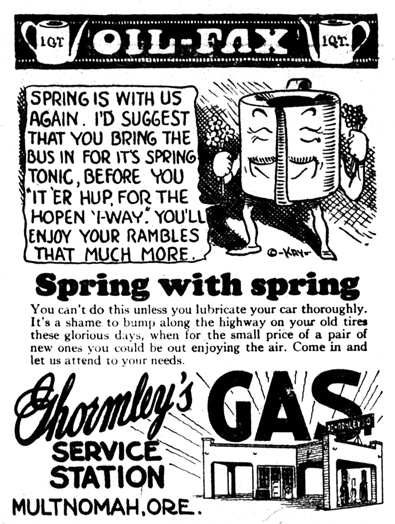 Ghormleys Service Station advertisement from The Multnomah Press, April 6, 1928.