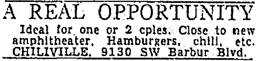 Chiliville ad, Sunday Oregonian, June 18, 1950.