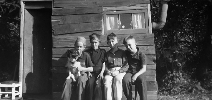 Boys, Their Dog, and Their Fort. Multnomah Area, Date Unknown.