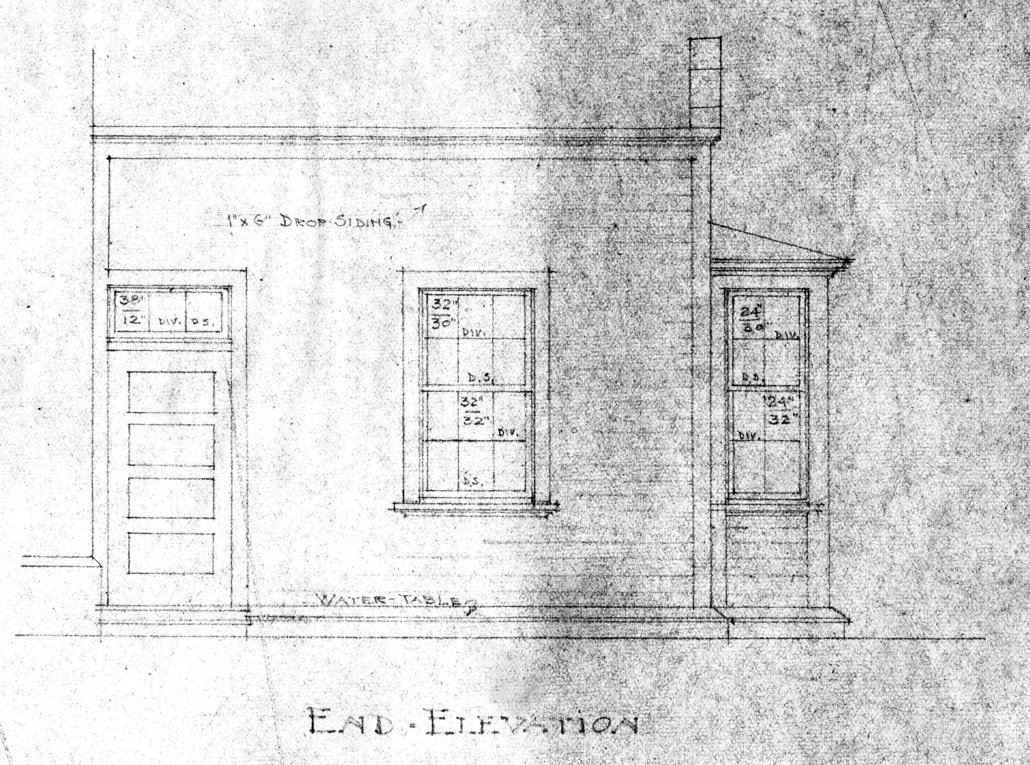 Multnomah Station Blueprint, End Elevation, ca. 1908. Courtesy Le Meitour Gallery.