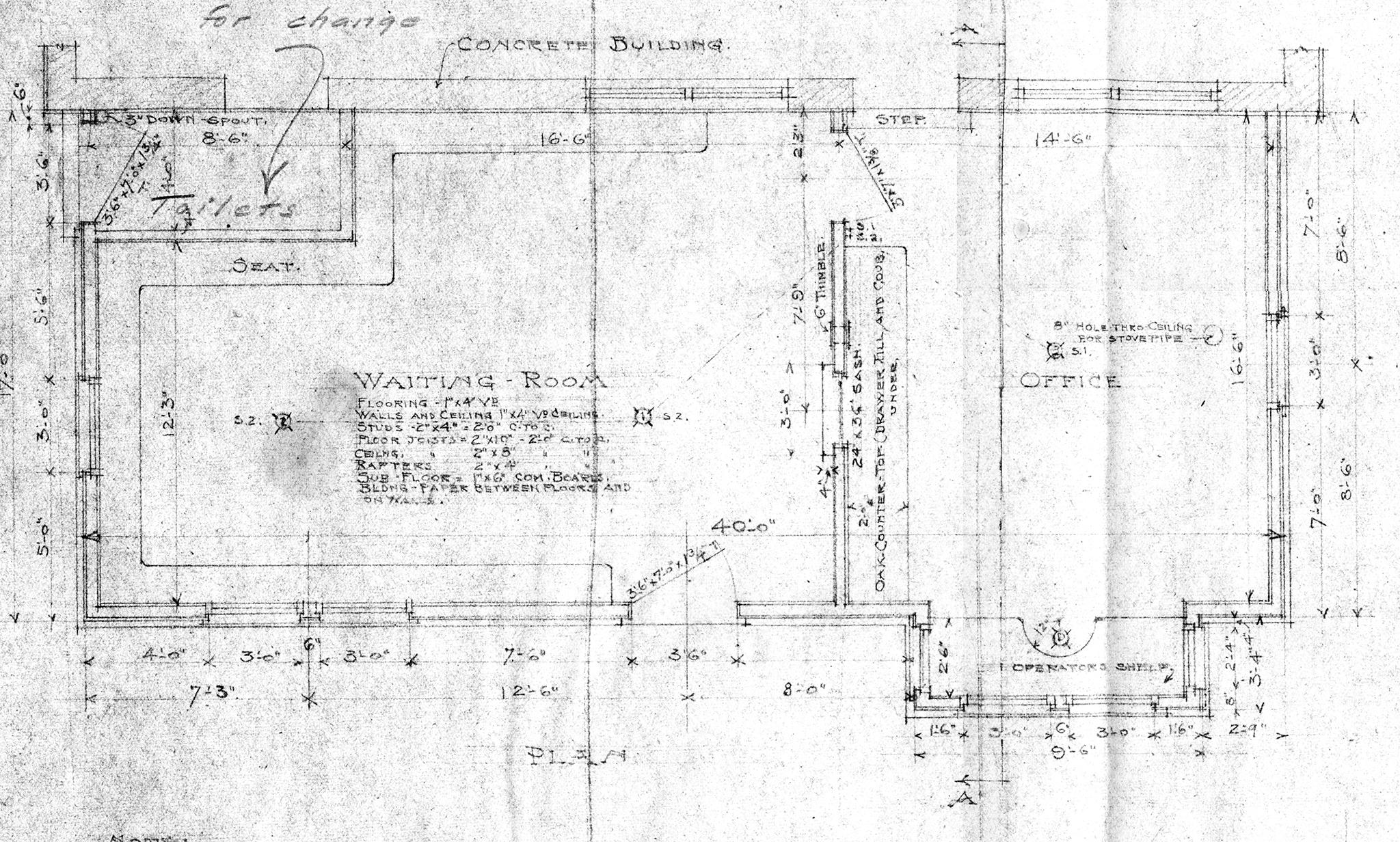 Multnomah Station Blueprint, Floor Plan, ca. 1908. Courtesy Le Meitour Gallery.