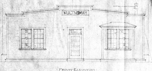 Multnomah Station Blueprint, Front Elevation, ca. 1908. Courtesy Le Meitour Gallery.