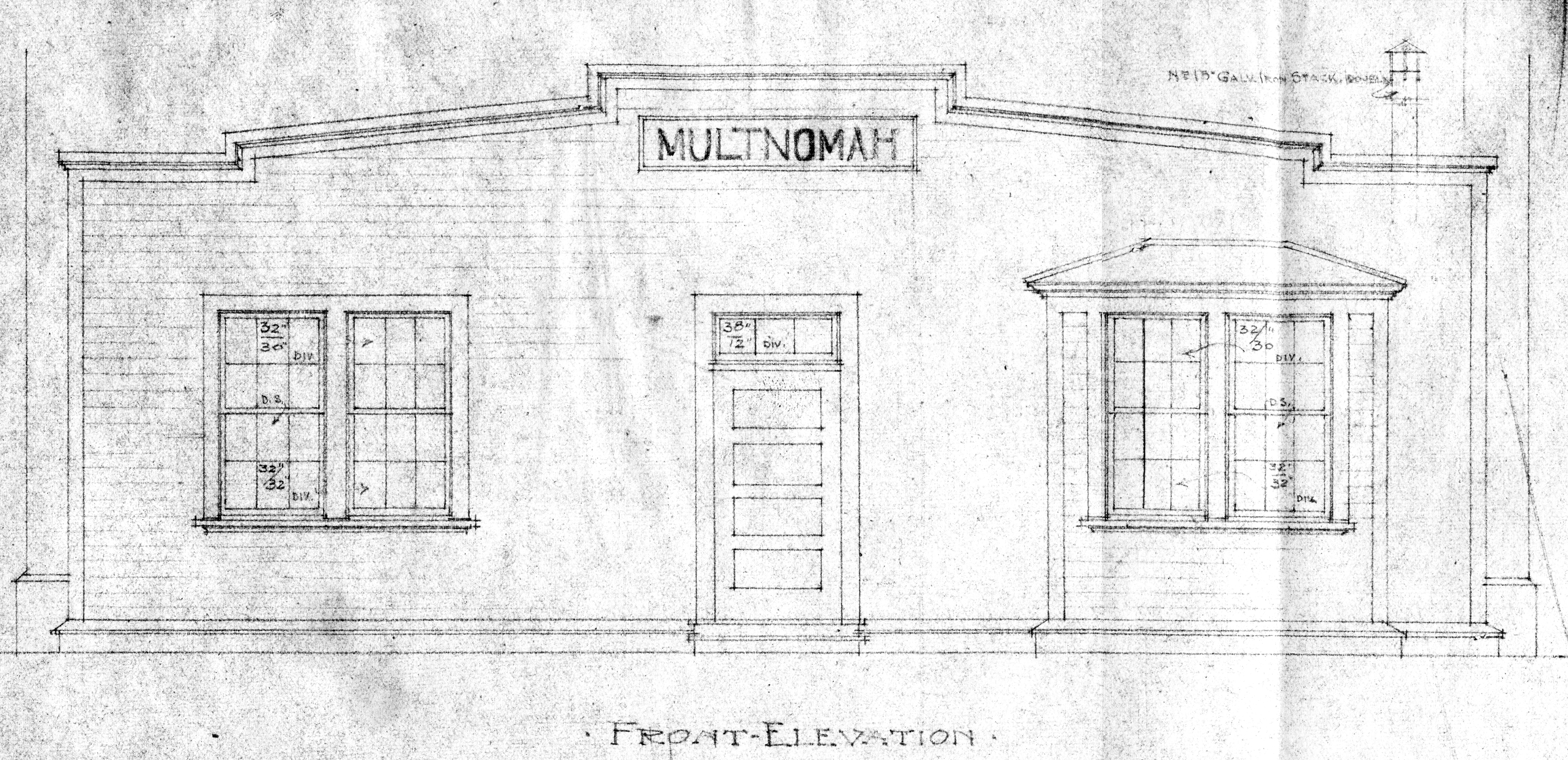 Front Elevation Blueprint : Multnomah station blueprints historical
