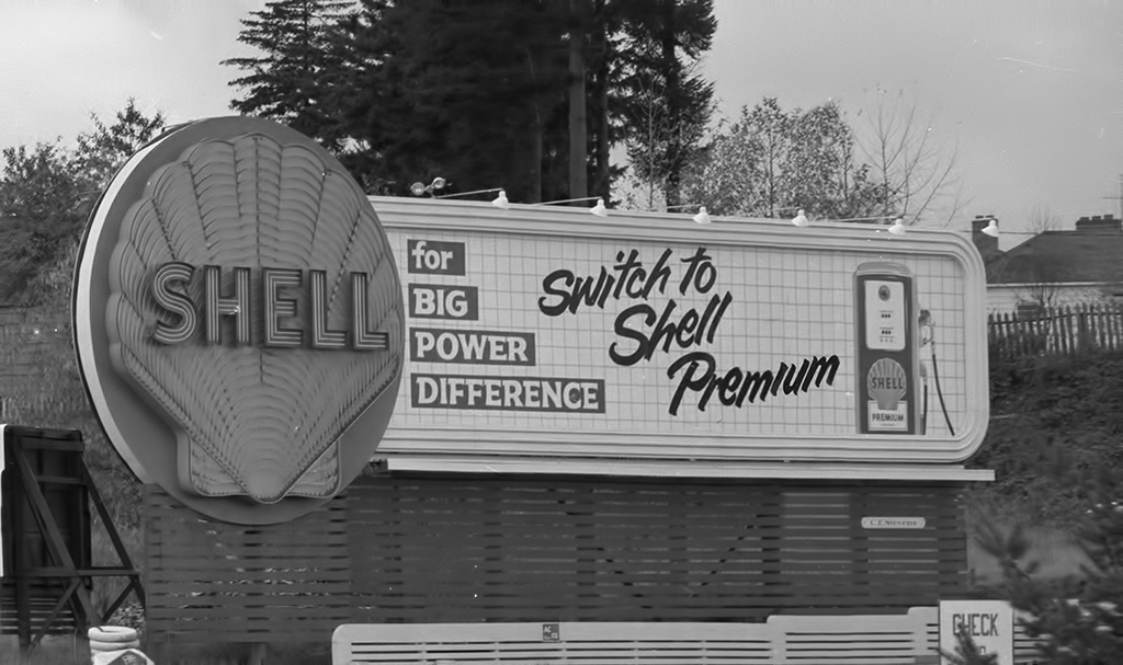 Neon Shell Service Station Sign on Barbur Boulevard, ca 1952.