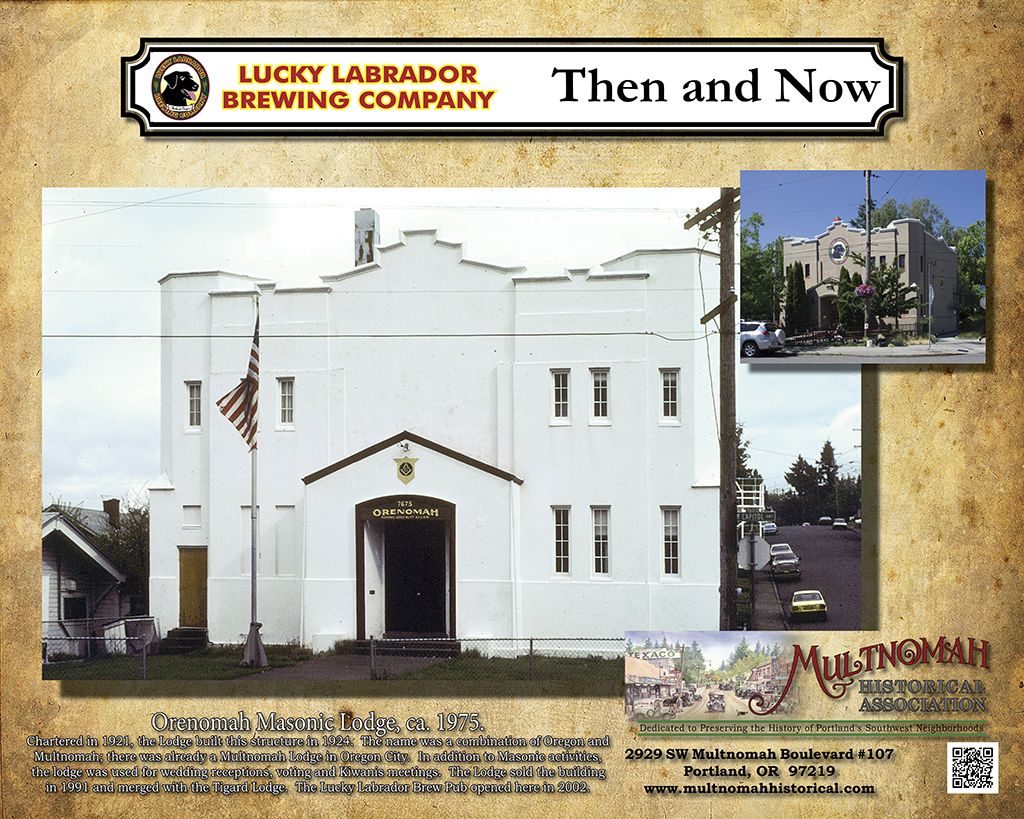 Lucky Labrador Public House - Then and Now, Orenomah Masonic Lodge image ca. 1975.