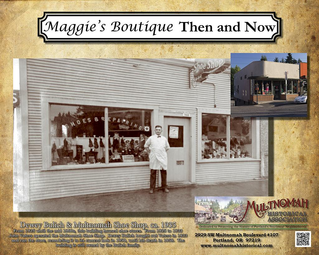 Then and Now - Maggie's Boutique, Multnomah Show Shop photo ca. 1935.