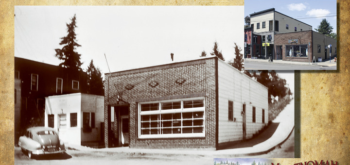 Then and Now - Switch, Photo of Library (L), and Liquor Store (R), ca 1952.