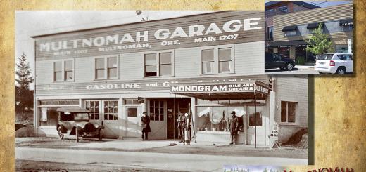 Then and Now - Sip D'Vine, Multnomah Garage Photo ca. 1920.