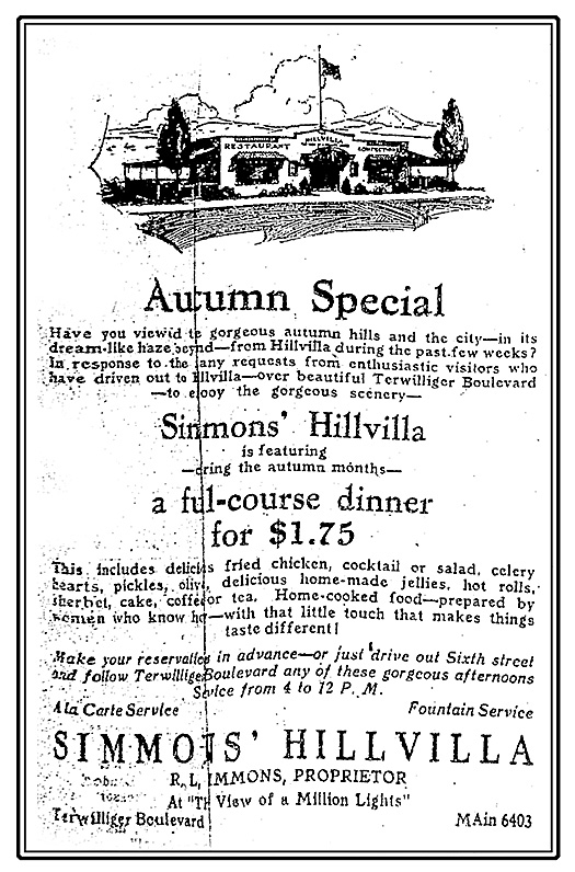 Simmons' Hillvilla advertisement, Morning Oregonian, October 17, 1924.