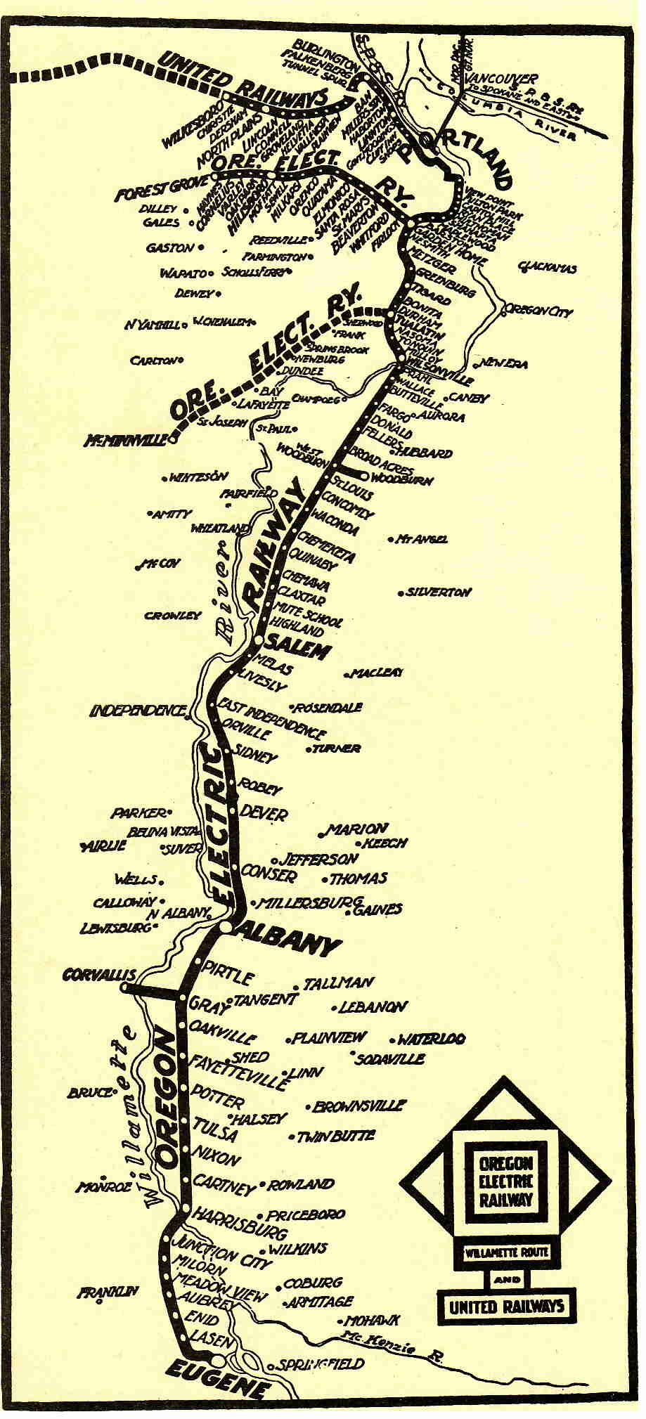 Oregon Electric Railway Route Map, 1914.