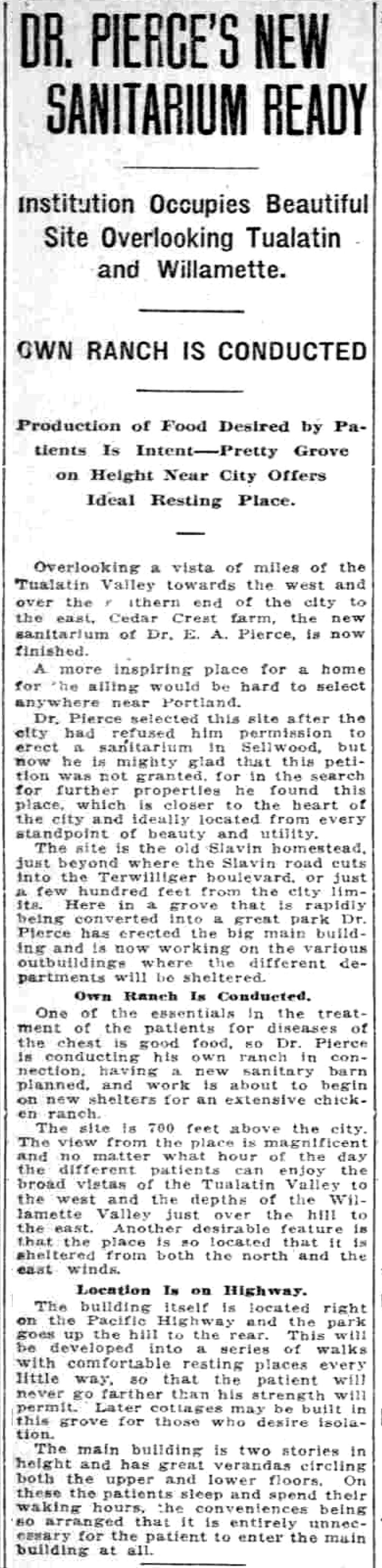 Pierce Sanitorium Article.  Sunday Oregonian, August 12, 1917.