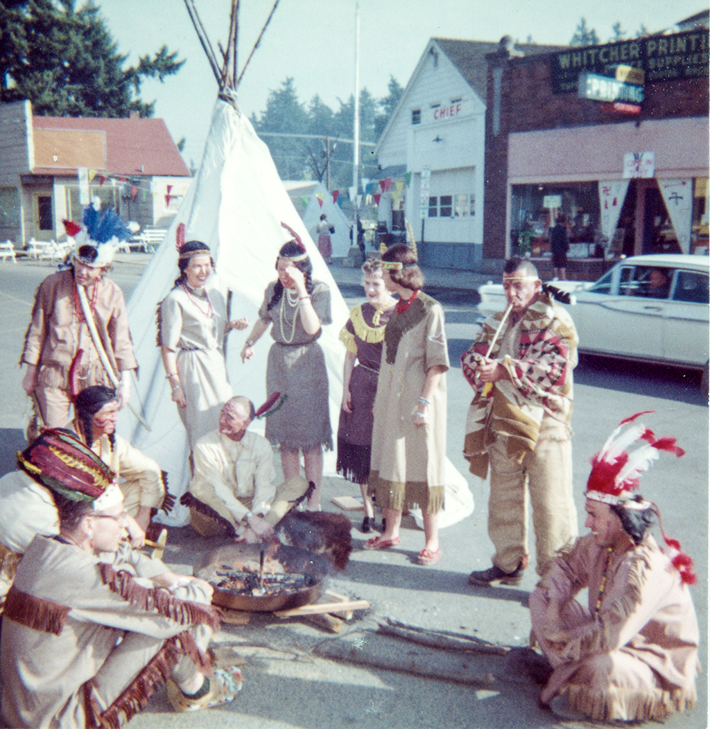 Multnomah Merchants Celebrating Chief Multnomah Days, ca. 1958.
