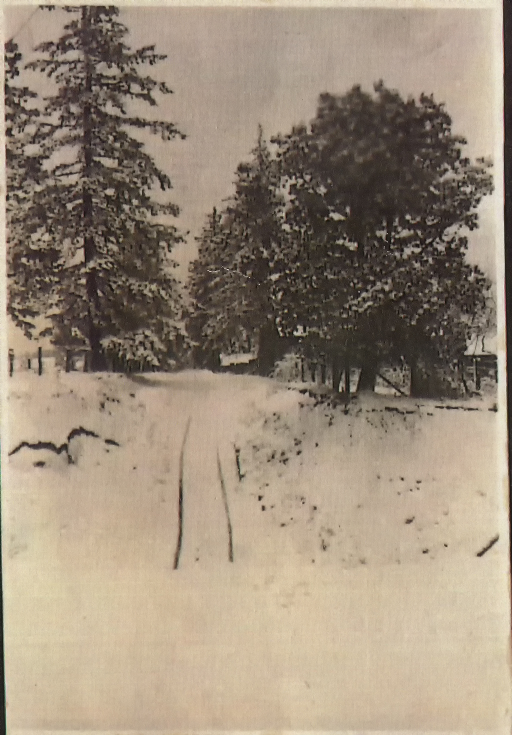 Unidentified Street covered in snow in Multnomah Oregon, ca. 1920.