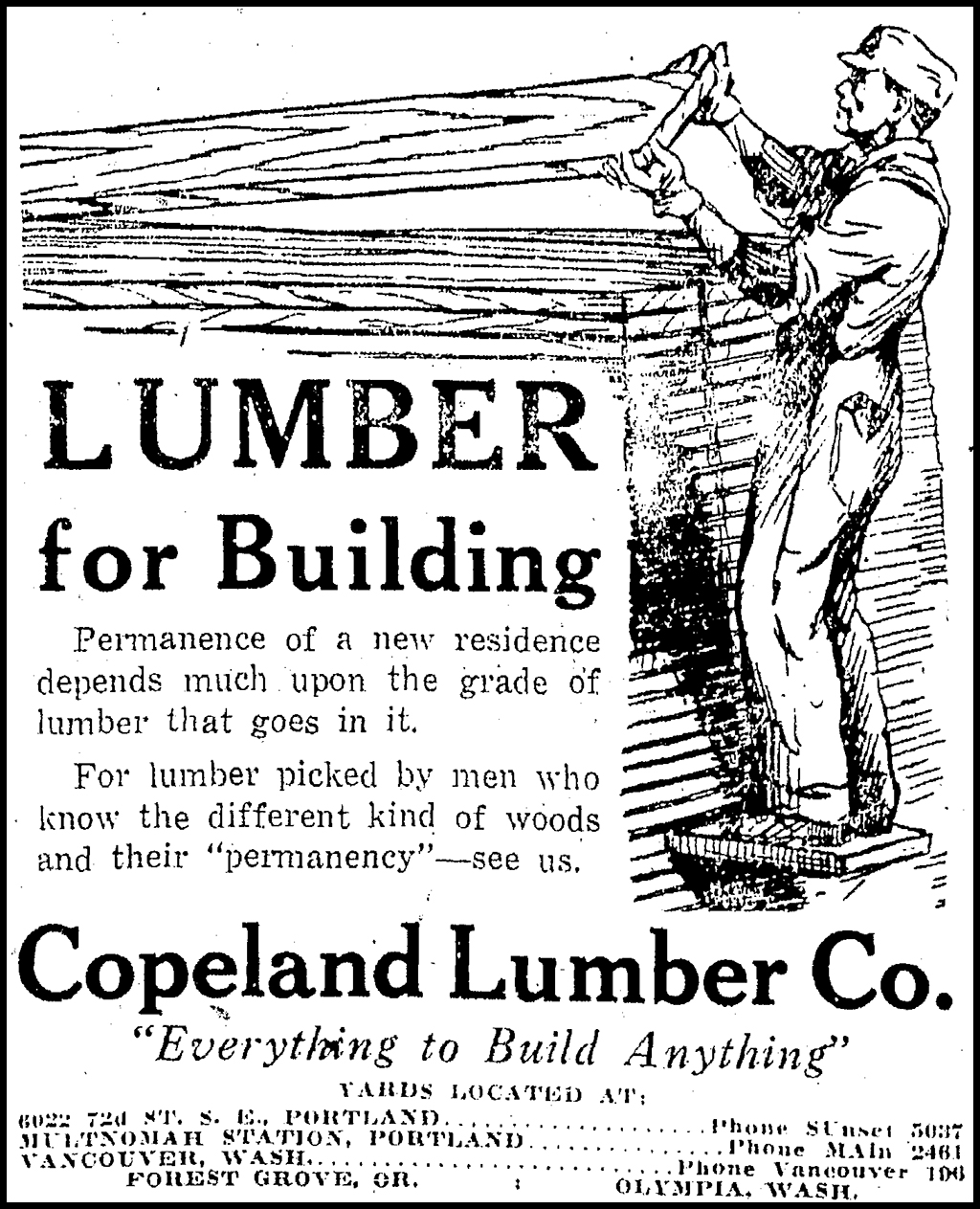 Copeland Lumber Ad, Sunday Oregonian, May 31, 1925.