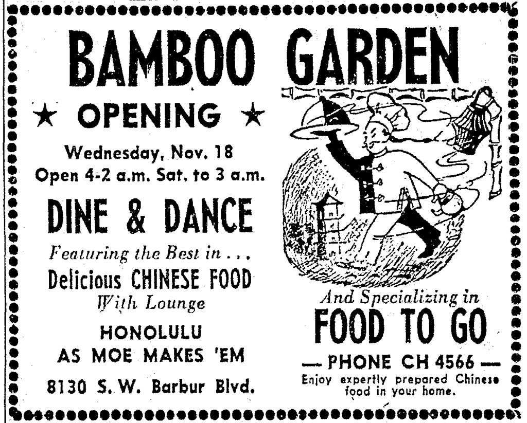 Bamboo Garden Advertisement; Oregonian, Wednesday, November 18, 1953.