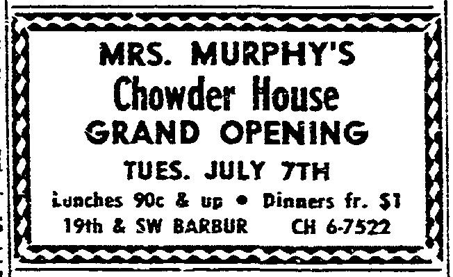 Mrs. Murphy's Chowder Advertisement; Oregonian, Tuesday, July 7, 1964.