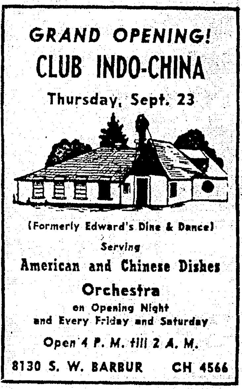 Club Indo-China Advertisement; Oregonian, Wednesday, September 14, 1948.