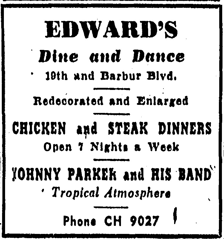 Edward's Dine and Dance Advertisement; Oregonian, Friday, April 26, 1946.