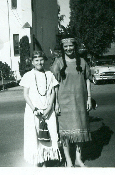 Beverly Fisher and Marion Miller, Dressed for Chief Multnomah Days, ca. 1960.