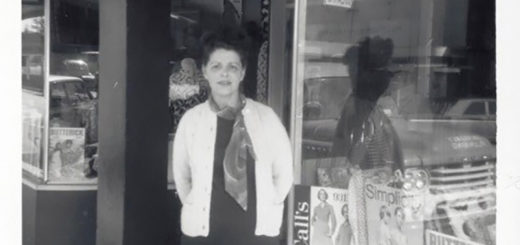 "Marion Miller, in front of her shop ""Sewing Basket,"" ca. 1965."