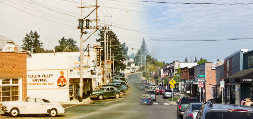 Capitol Highway in Multnomah. Ca. 1950 on the left, April 11, 2016 on the right.