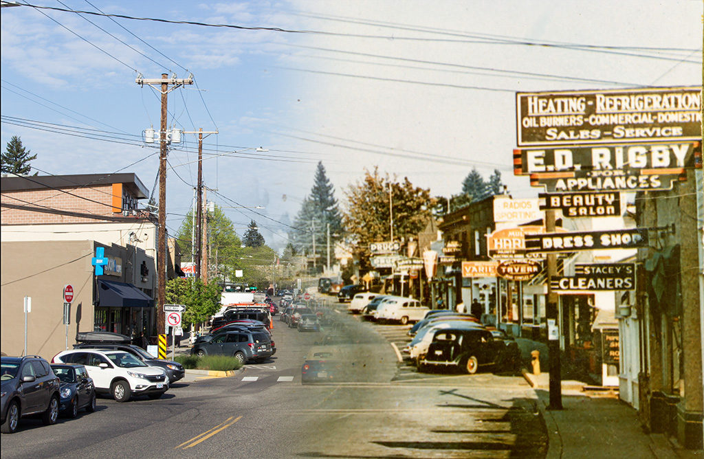Capitol Highway in Multnomah.  April 11, 2016 on the left, Ca. 1950 on the right.